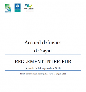 Règlement intérieur Accueil de loisirs Sayat à compter du 2 septembre 2019