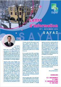 Lettre d'information n°3, novembre 2019